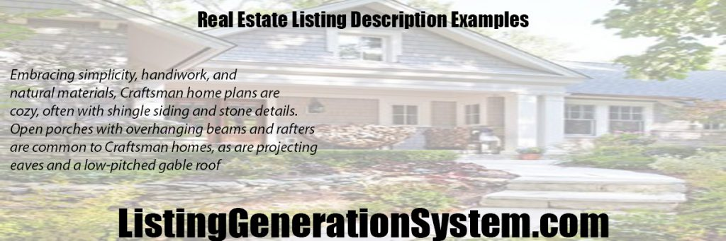real estate listing description examples
