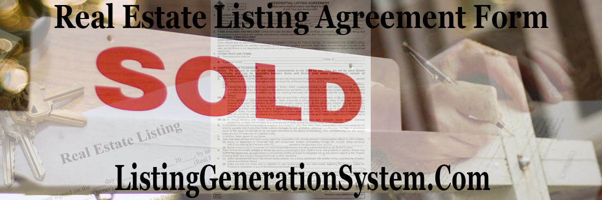Real Estate Listing Agreement Form Listing Generation System