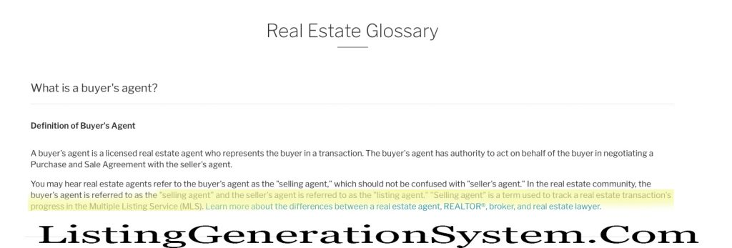 define selling agent