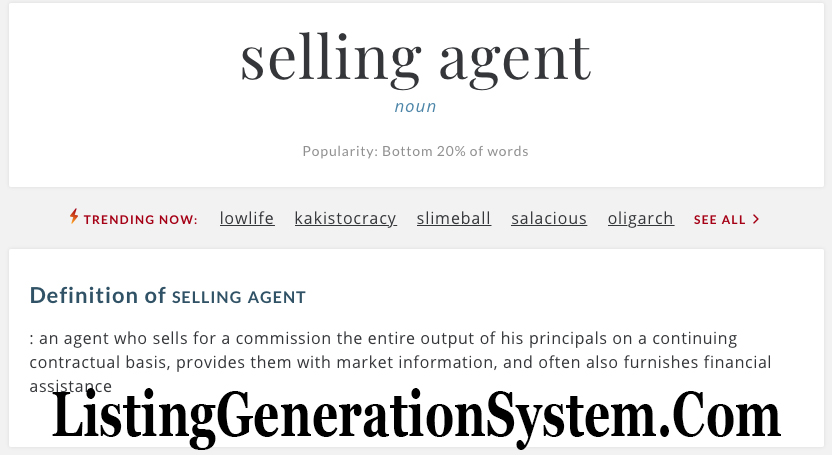 What is a selling agent, listing generation system